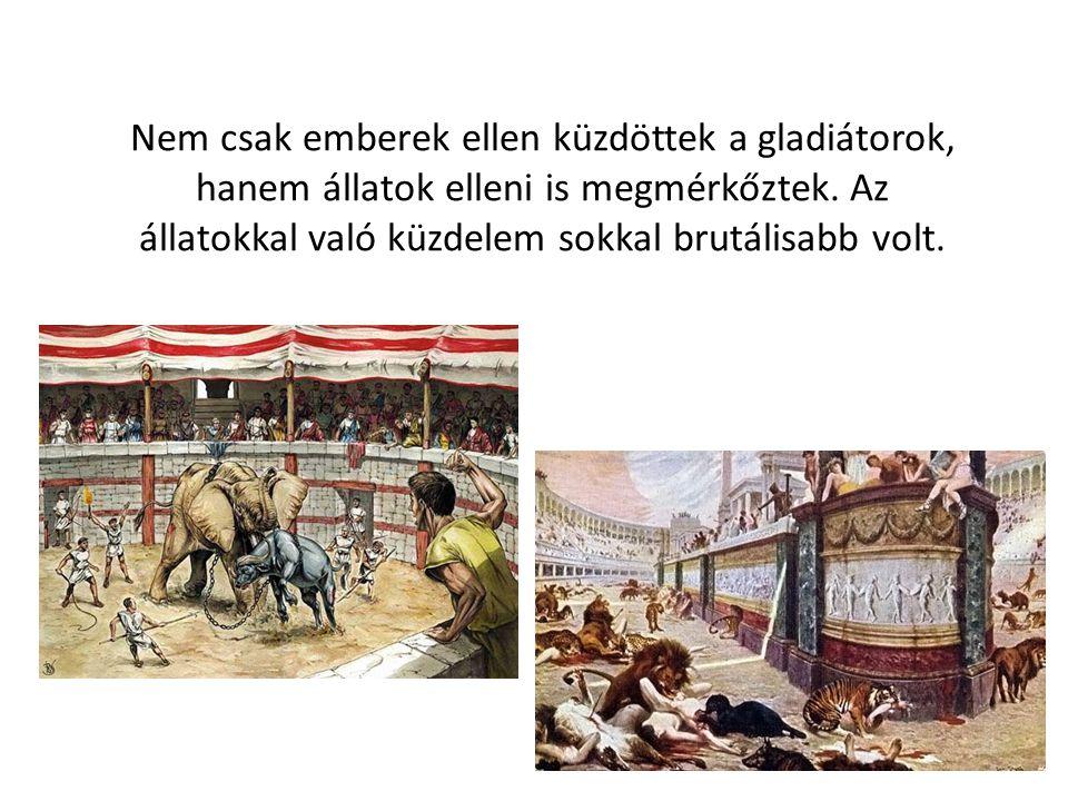 Nem csak emberek ellen küzdöttek a gladiátorok, hanem állatok elleni is megmérkőztek.