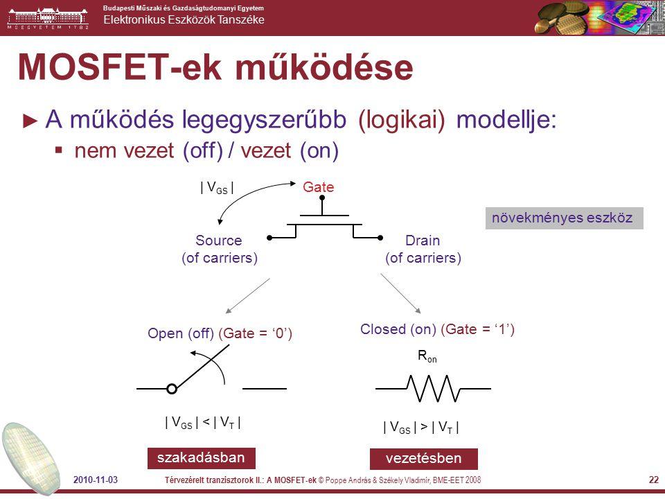 MOSFET-ek működése A működés legegyszerűbb (logikai) modellje: