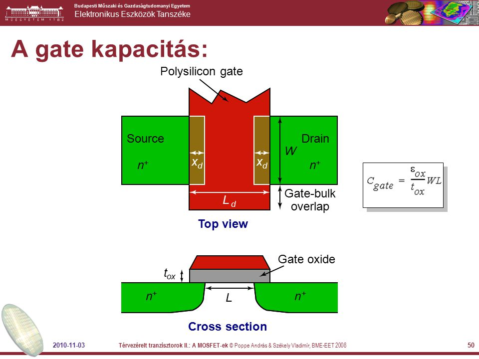 A gate kapacitás: x L Polysilicon gate Top view Gate-bulk overlap