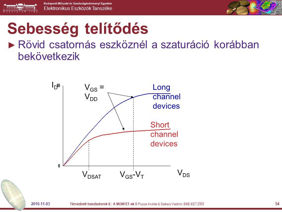 Sebesség telítődés Rövid csatornás eszköznél a szaturáció korábban bekövetkezik. ID. Long channel devices.