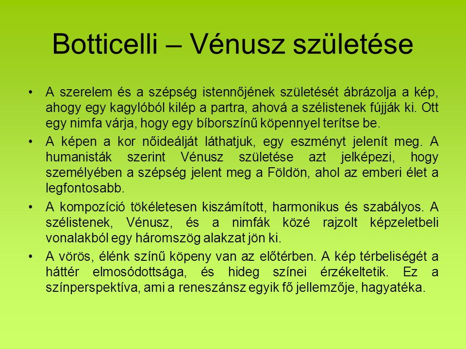 Botticelli – Vénusz születése
