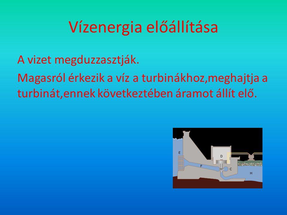 Vízenergia előállítása