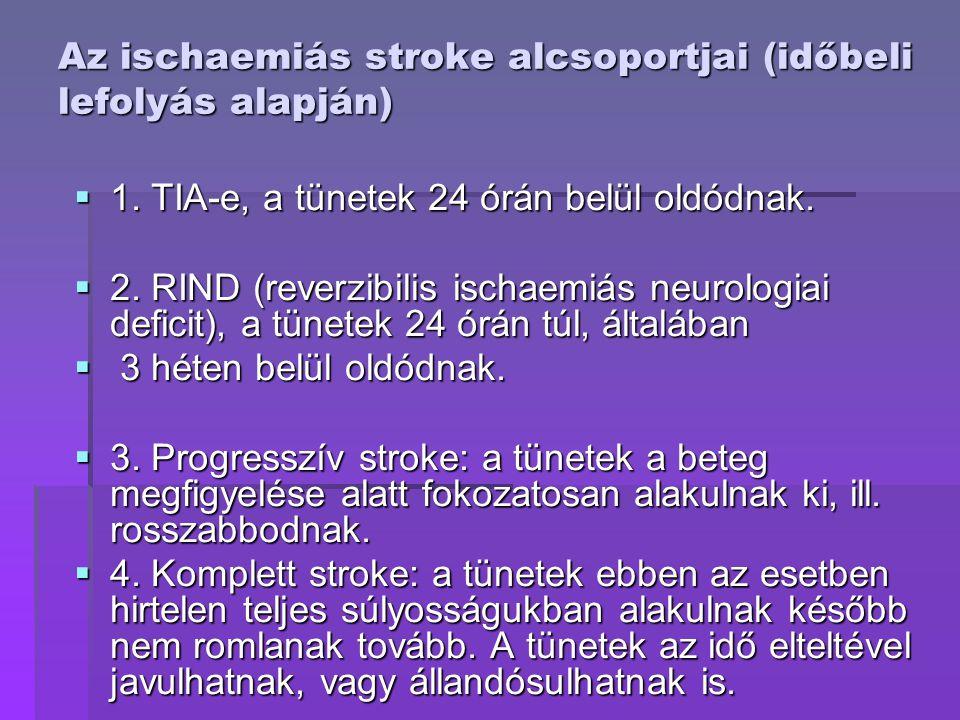 Az ischaemiás stroke alcsoportjai (időbeli lefolyás alapján)