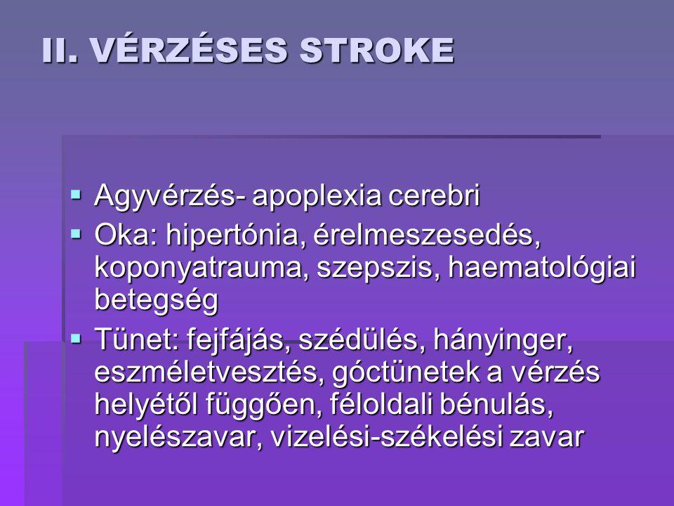 II. VÉRZÉSES STROKE Agyvérzés- apoplexia cerebri