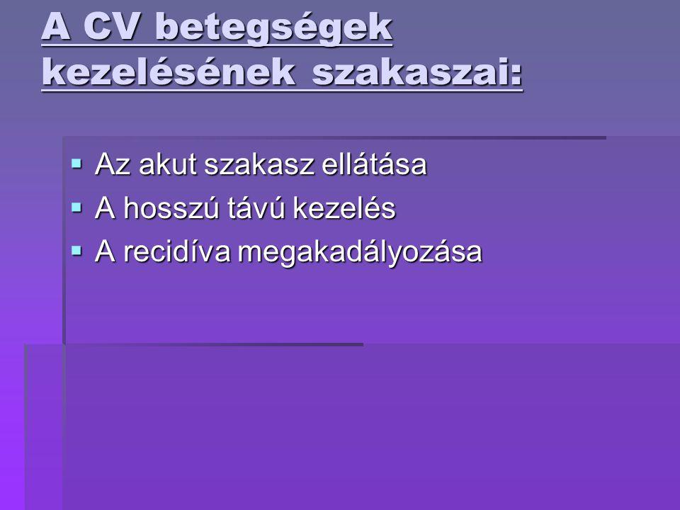A CV betegségek kezelésének szakaszai: