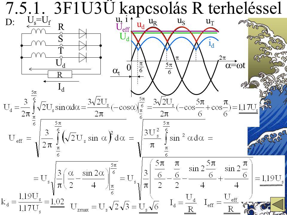 7.5.1. 3F1U3Ü kapcsolás R terheléssel