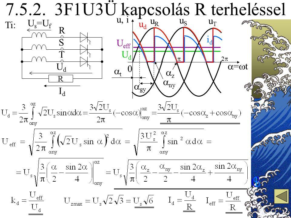 7.5.2. 3F1U3Ü kapcsolás R terheléssel