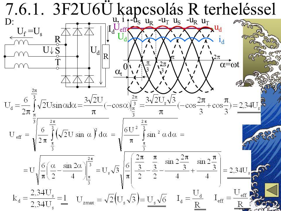 7.6.1. 3F2U6Ü kapcsolás R terheléssel