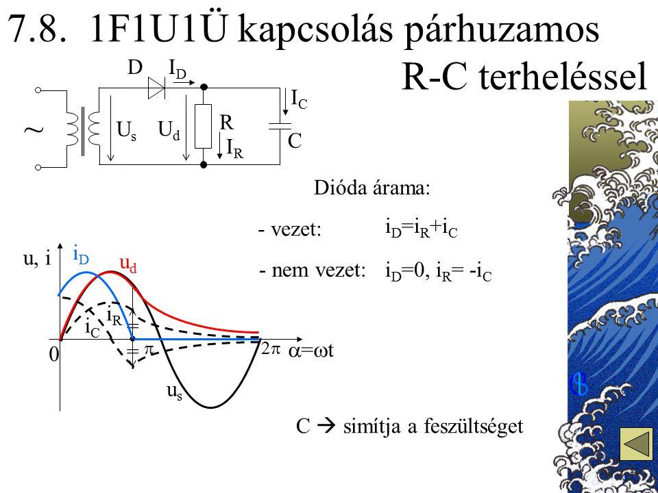 7.8. 1F1U1Ü kapcsolás párhuzamos R-C terheléssel