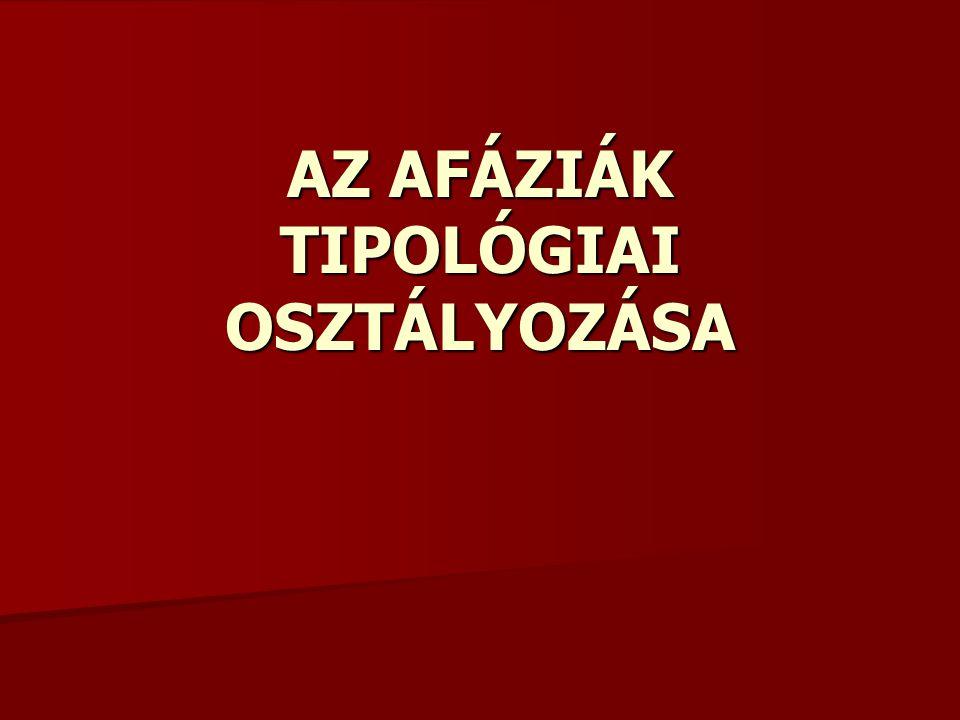 AZ AFÁZIÁK TIPOLÓGIAI OSZTÁLYOZÁSA