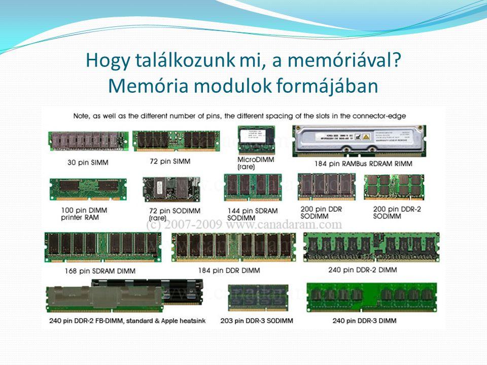 Hogy találkozunk mi, a memóriával Memória modulok formájában