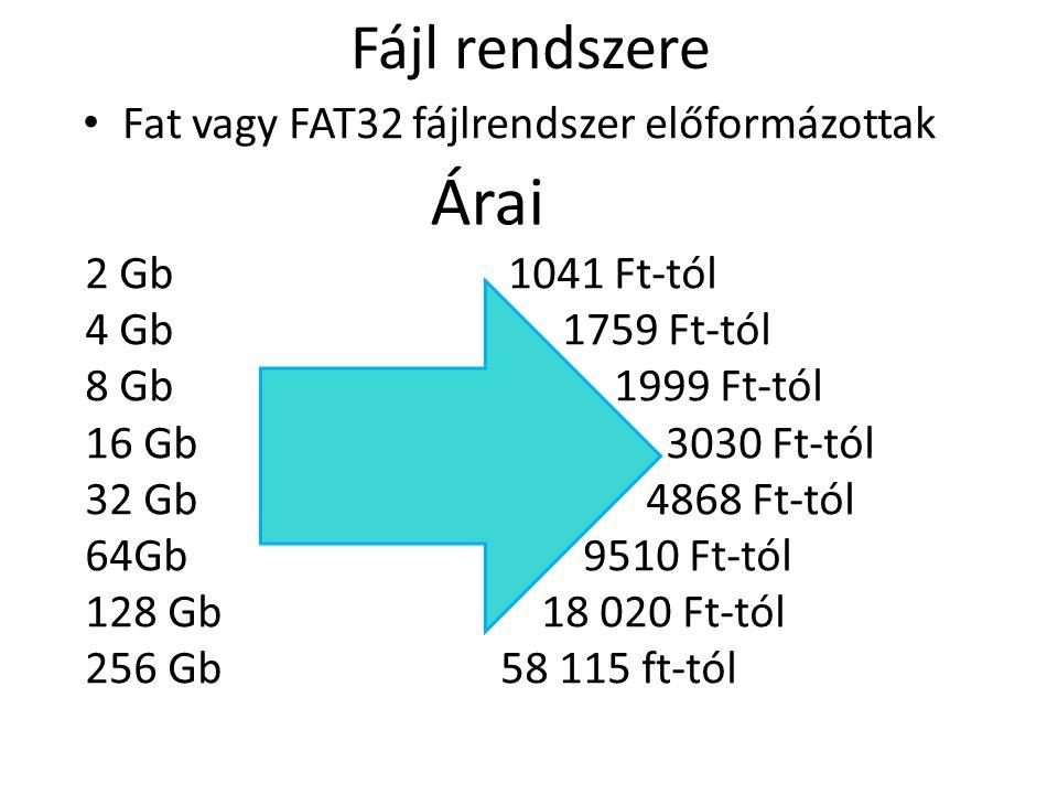 Árai Fájl rendszere Fat vagy FAT32 fájlrendszer előformázottak
