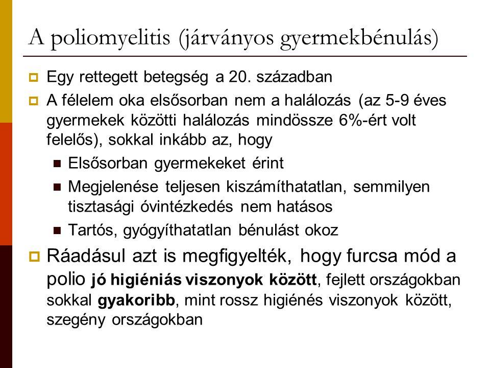 A poliomyelitis (járványos gyermekbénulás)