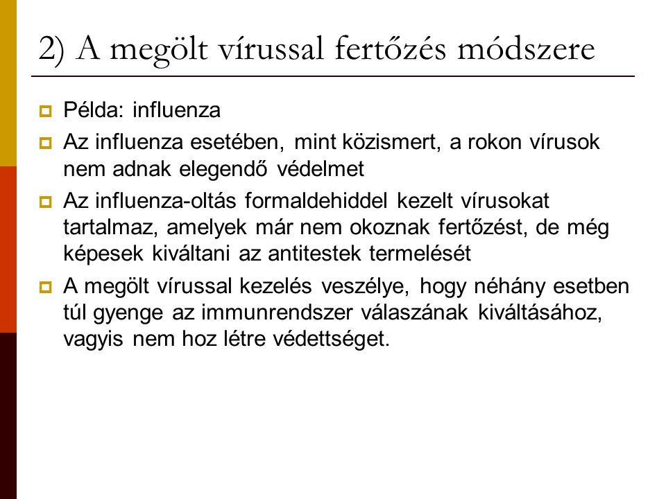 2) A megölt vírussal fertőzés módszere