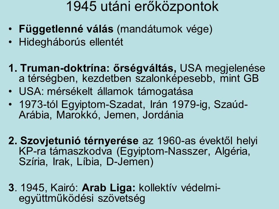 1945 utáni erőközpontok Függetlenné válás (mandátumok vége)