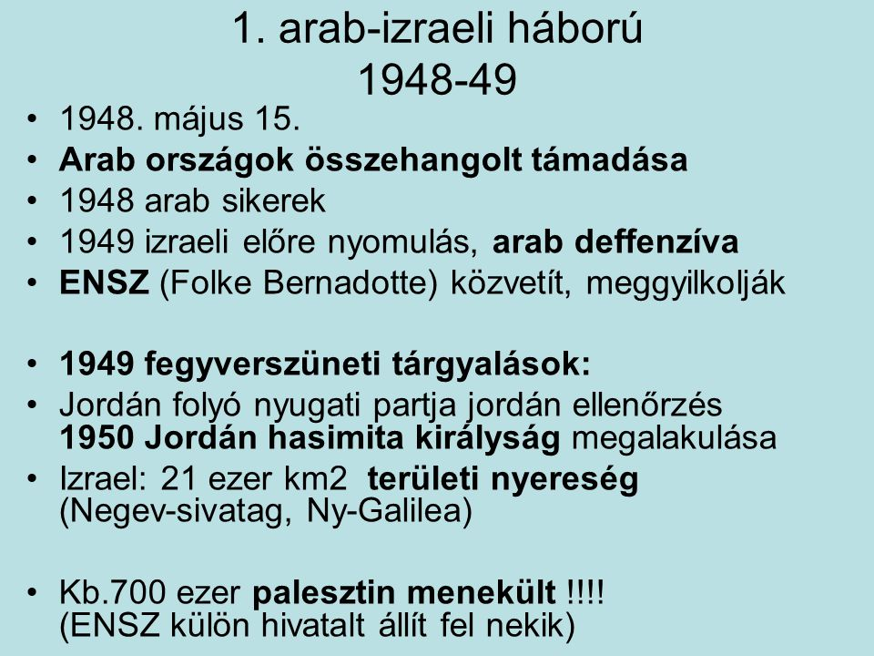 1. arab-izraeli háború 1948-49 1948. május 15.