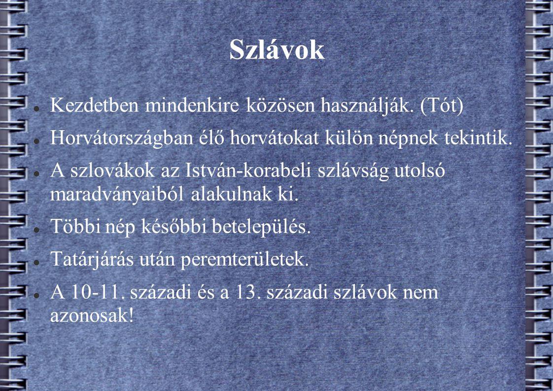 Szlávok Kezdetben mindenkire közösen használják. (Tót)