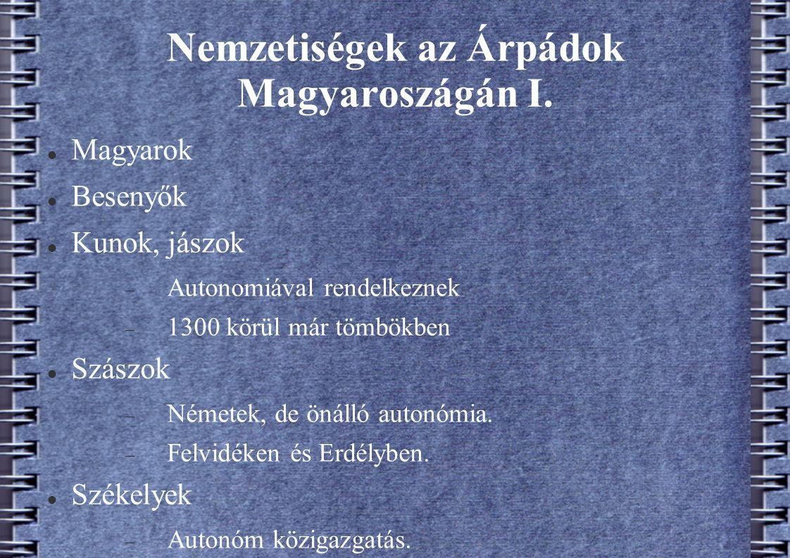Nemzetiségek az Árpádok Magyaroszágán I.