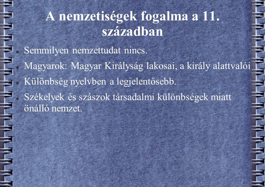 A nemzetiségek fogalma a 11. században
