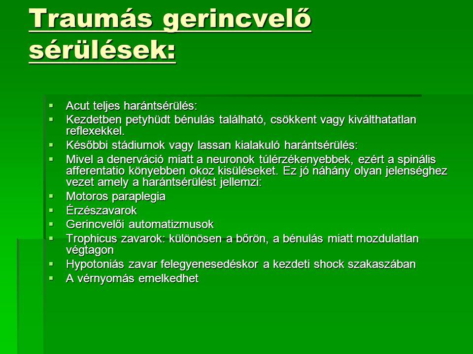 Traumás gerincvelő sérülések: