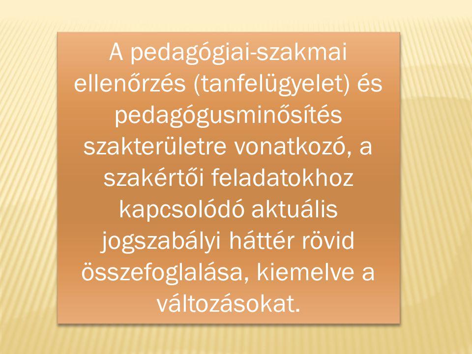 A pedagógiai-szakmai ellenőrzés (tanfelügyelet) és pedagógusminősítés szakterületre vonatkozó, a szakértői feladatokhoz kapcsolódó aktuális jogszabályi háttér rövid összefoglalása, kiemelve a változásokat.