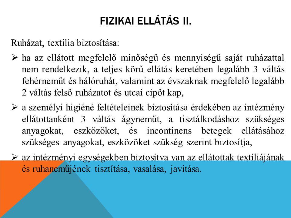 Fizikai ellátás II. Ruházat, textília biztosítása: