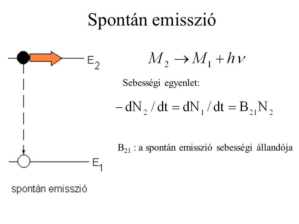 Spontán emisszió Sebességi egyenlet: