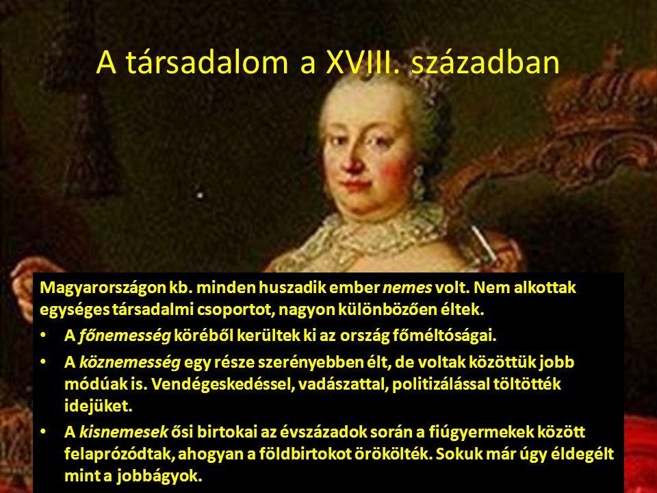 A társadalom a XVIII. században