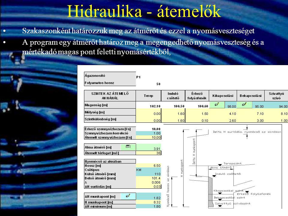 Hidraulika - átemelők Szakaszonként határozzuk meg az átmérőt és ezzel a nyomásveszteséget.