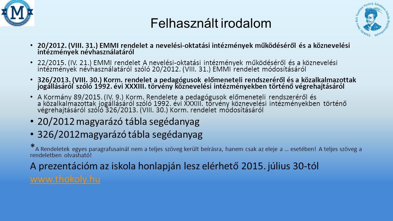 Felhasznált irodalom 20/2012 magyarázó tábla segédanyag