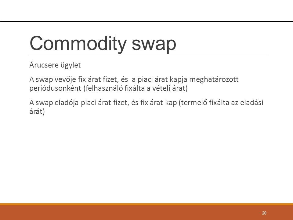 Commodity swap Árucsere ügylet
