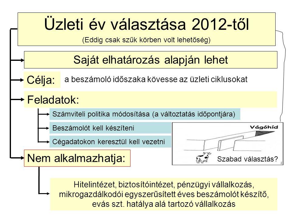 Üzleti év választása 2012-től
