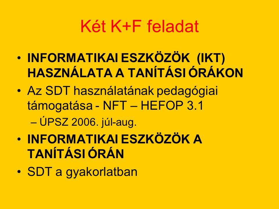 Két K+F feladat INFORMATIKAI ESZKÖZÖK (IKT) HASZNÁLATA A TANÍTÁSI ÓRÁKON. Az SDT használatának pedagógiai támogatása - NFT – HEFOP 3.1.