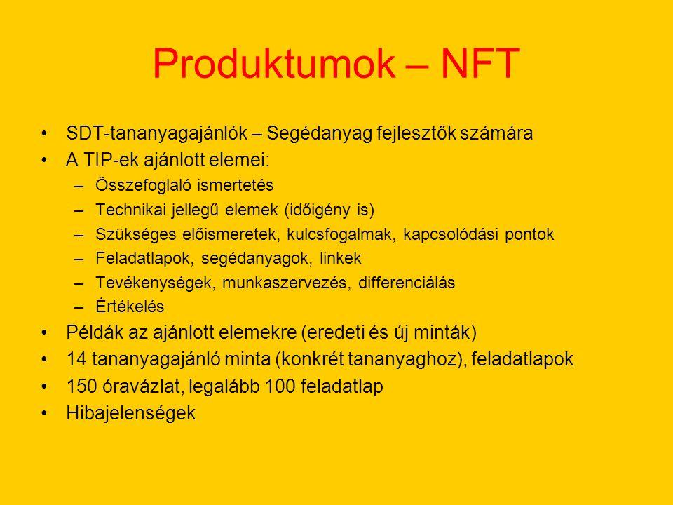 Produktumok – NFT SDT-tananyagajánlók – Segédanyag fejlesztők számára