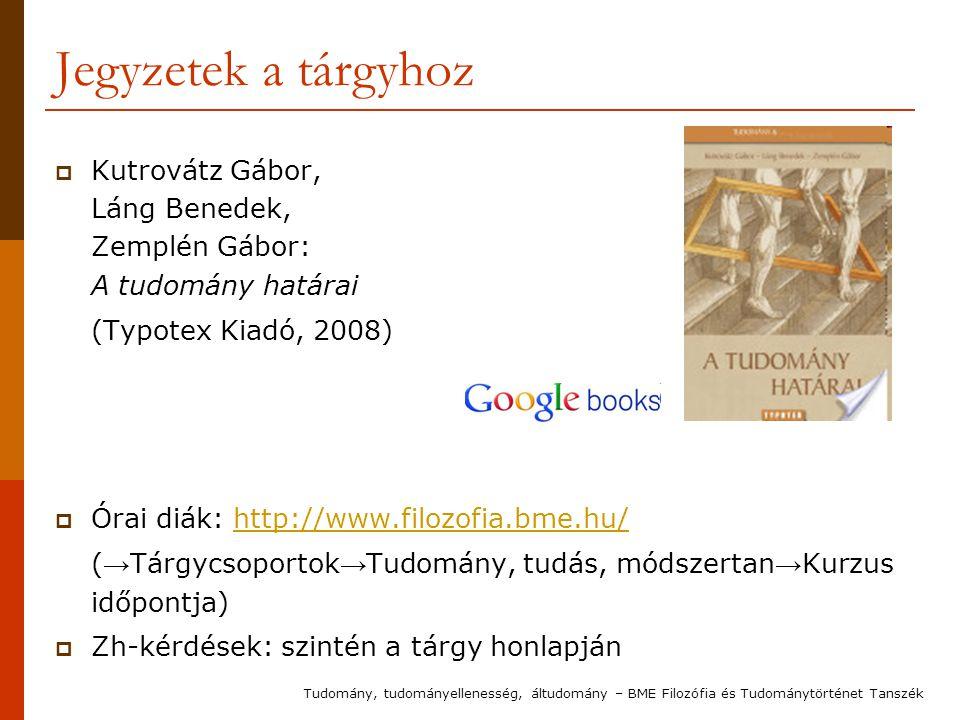 Jegyzetek a tárgyhoz Kutrovátz Gábor, Láng Benedek, Zemplén Gábor: A tudomány határai. (Typotex Kiadó, 2008)