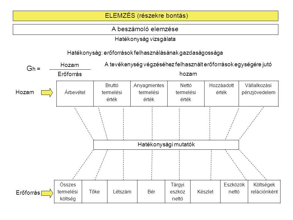 Gh = ELEMZÉS (részekre bontás) A beszámoló elemzése