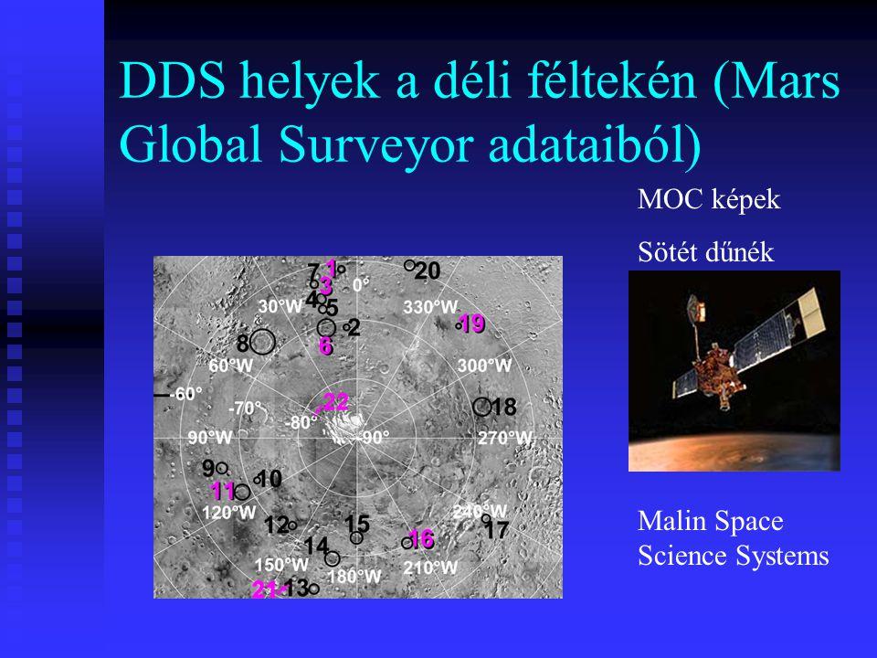 DDS helyek a déli féltekén (Mars Global Surveyor adataiból)