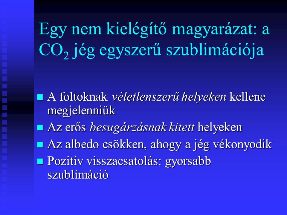 Egy nem kielégítő magyarázat: a CO2 jég egyszerű szublimációja