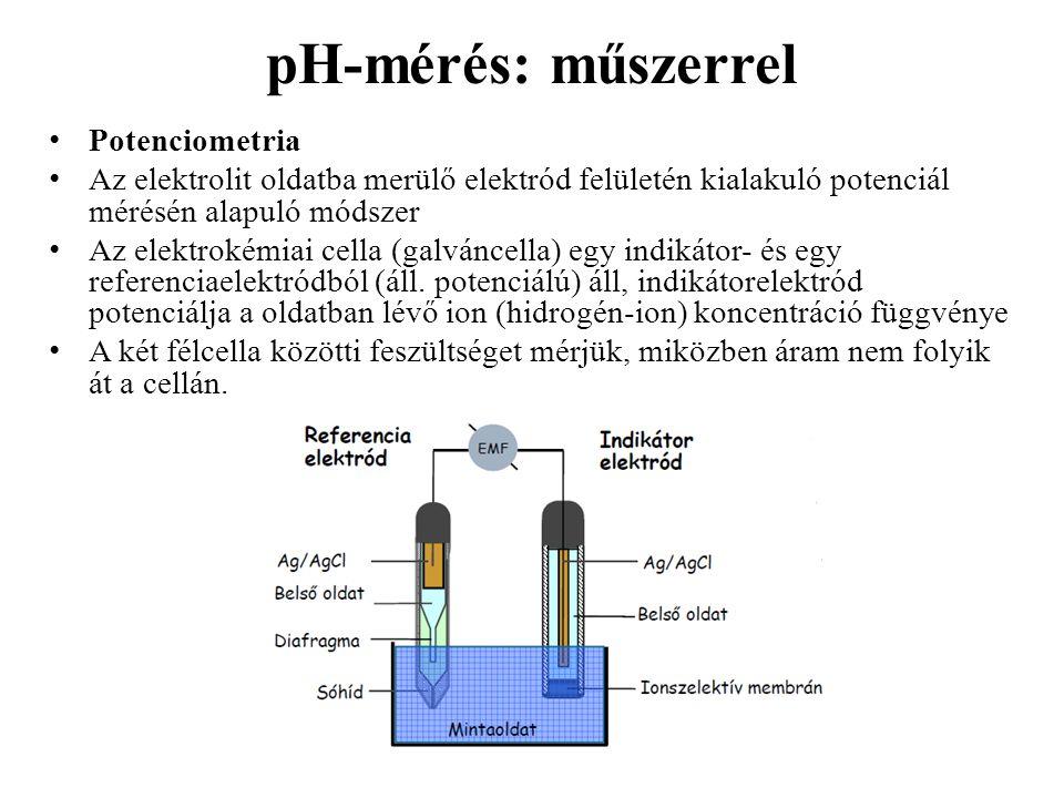 pH-mérés: műszerrel Potenciometria