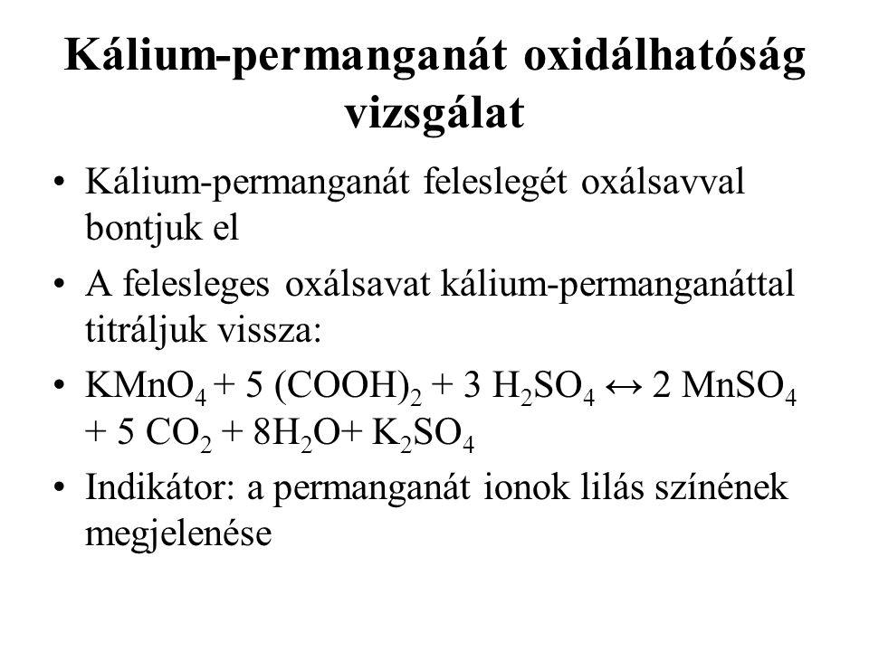 Kálium-permanganát oxidálhatóság vizsgálat