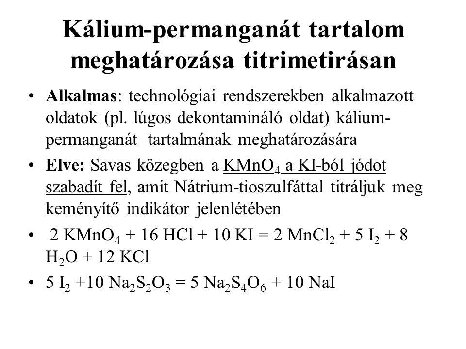Kálium-permanganát tartalom meghatározása titrimetirásan