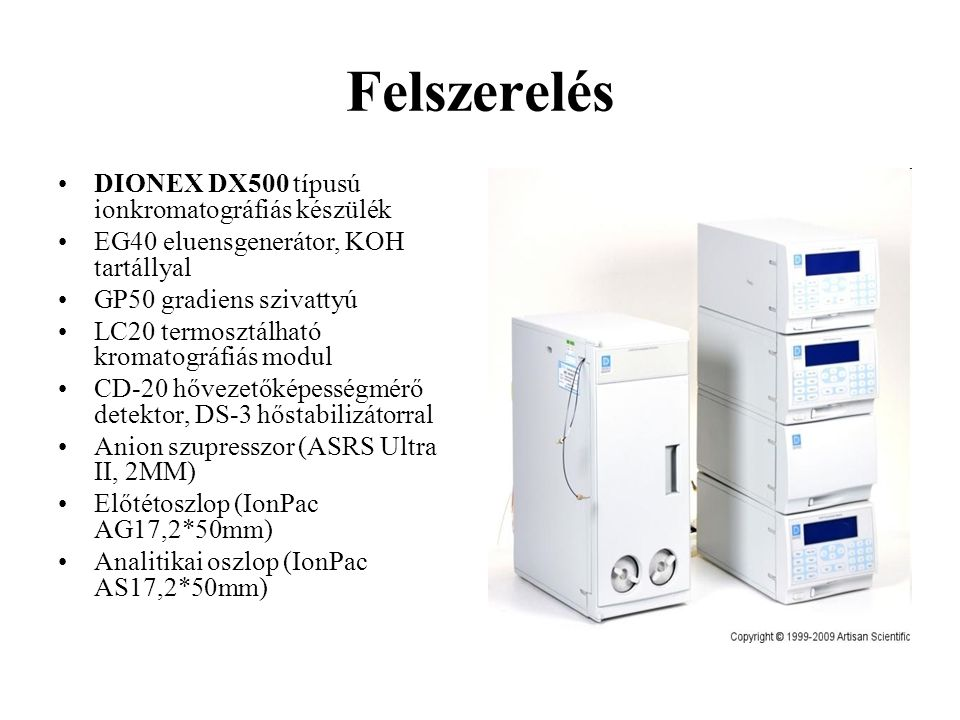Felszerelés DIONEX DX500 típusú ionkromatográfiás készülék