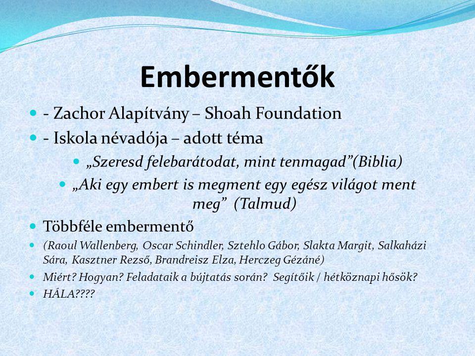 Embermentők - Zachor Alapítvány – Shoah Foundation