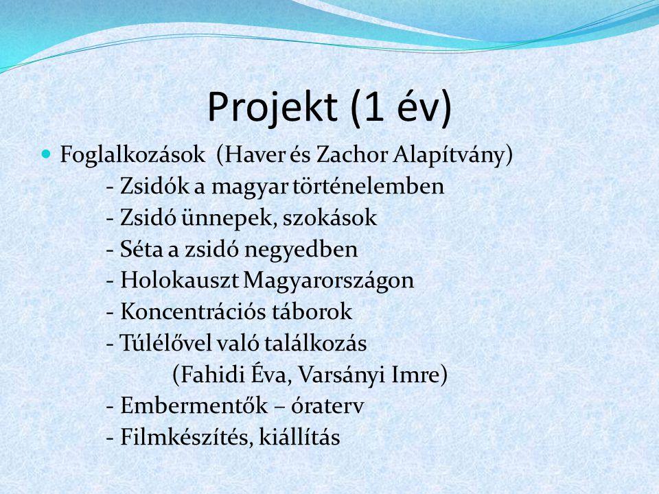 Projekt (1 év) Foglalkozások (Haver és Zachor Alapítvány)