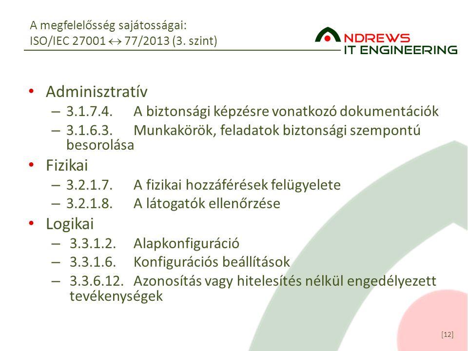 A megfelelősség sajátosságai: ISO/IEC 27001  77/2013 (3. szint)