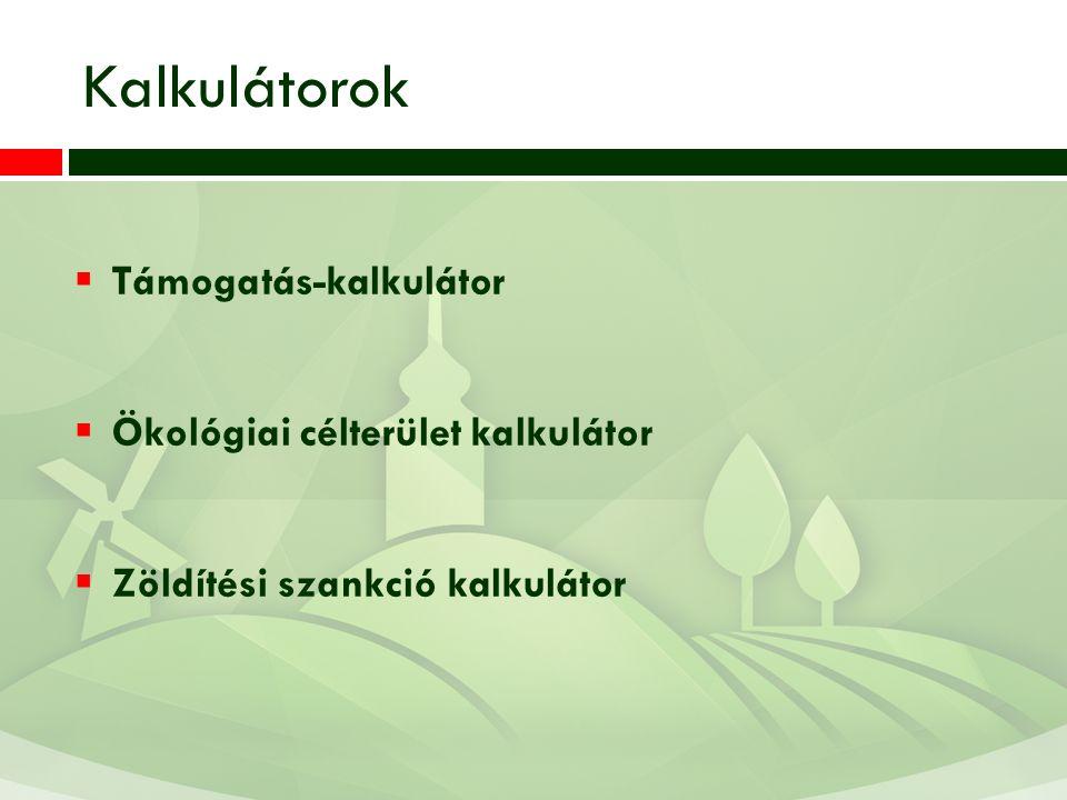 Kalkulátorok Támogatás-kalkulátor Ökológiai célterület kalkulátor