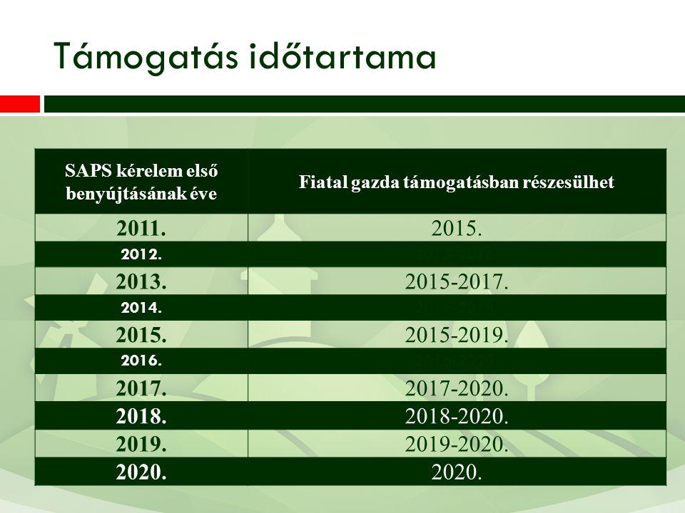 Támogatás időtartama 2011. 2015. 2013. 2015-2017. 2015-2019. 2017.