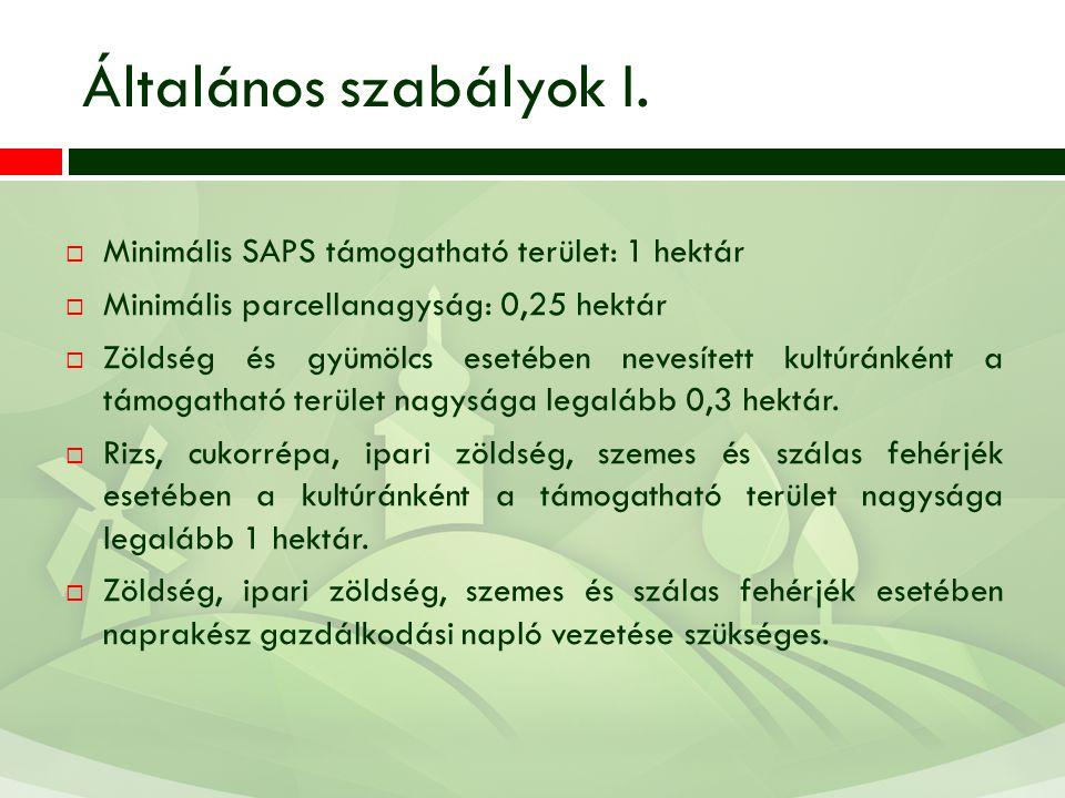 Általános szabályok I. Minimális SAPS támogatható terület: 1 hektár