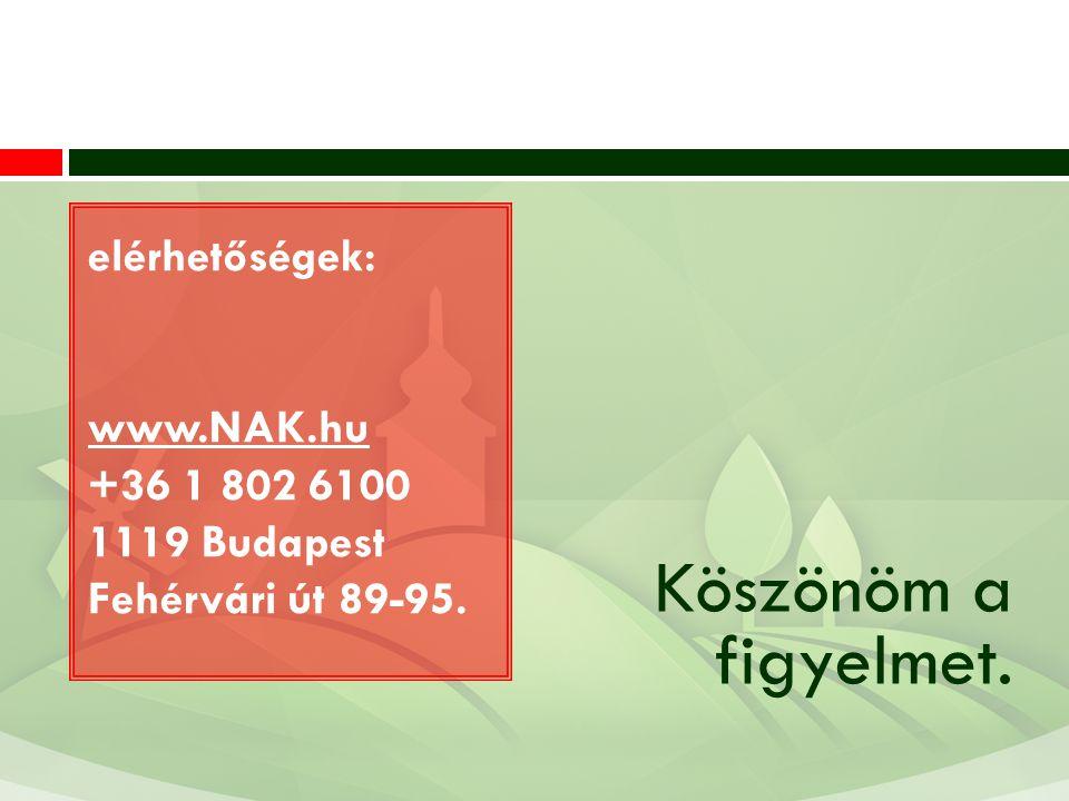 Köszönöm a figyelmet. elérhetőségek: www.NAK.hu +36 1 802 6100