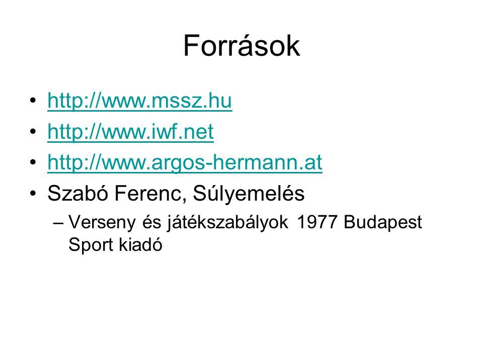 Források http://www.mssz.hu http://www.iwf.net
